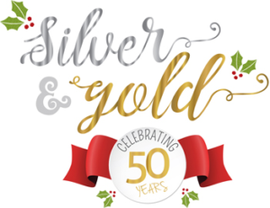 Logo for the 50th anniversary of the Southern Christmas Show.