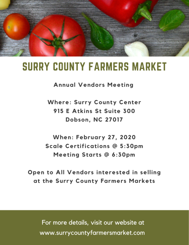 2020 Surry County Farmers Market Annual Vendor Meeting flyer image