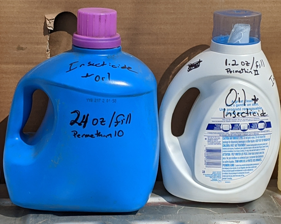 Laundry detergent bottle used for backrubber parasite control application
