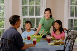 Family eating a meal at the kitchen table