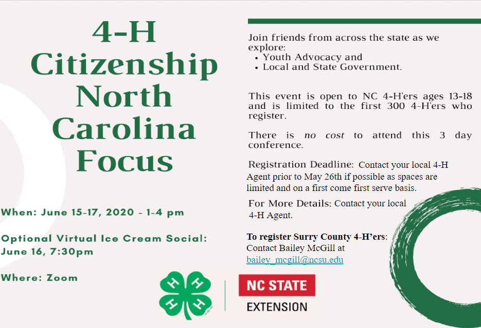 4-H Citizenship North Carolina Focus flyer