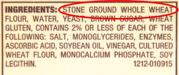 Example of a whole grain ingredient list.