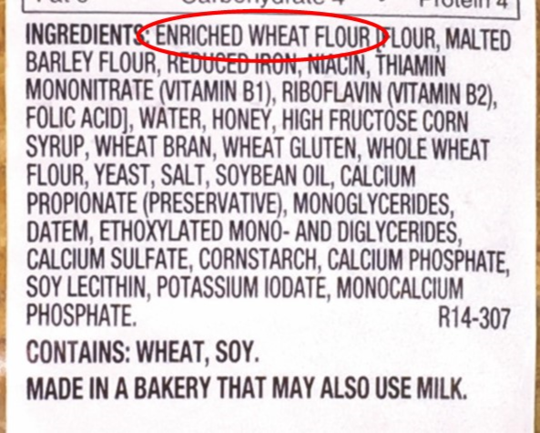 Example of an ingredient list for a product that is not whole grain.