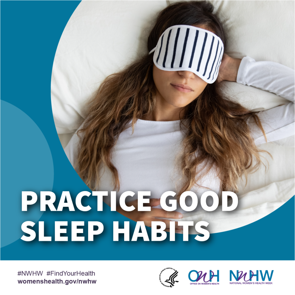 "Women Sleeping graphic with ""Practice Good Sleep Habits"" white text"