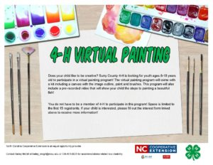 Flyer for the 4-H Virtual Painting program