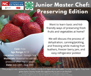 Want to learn basic and kid-friendly ways of preserving fresh fruits and vegetables at home? We will discuss the process of dehydration, canning/pickling, and freezing while making fruit leathers, freezer berry jam, and easy refrigerator pickles!