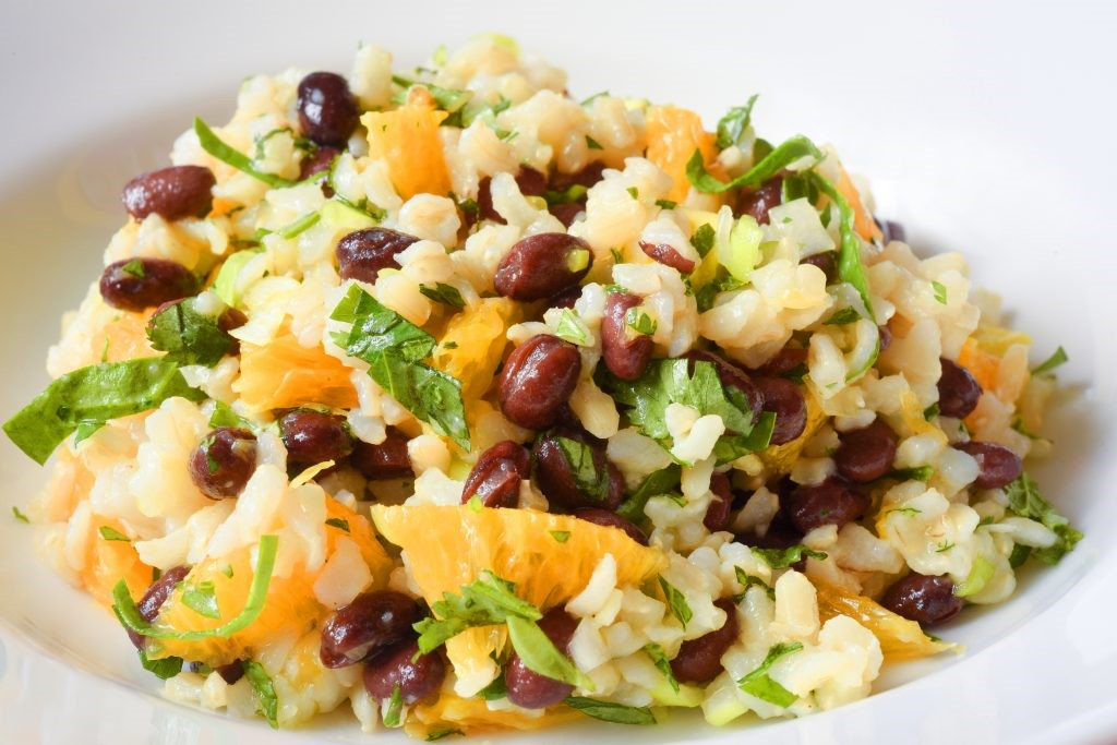 Photo of brown rice salad.