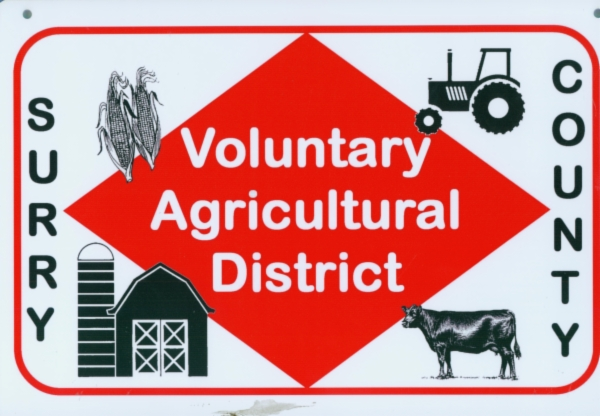 Surry County Voluntary Agricultural District sign.