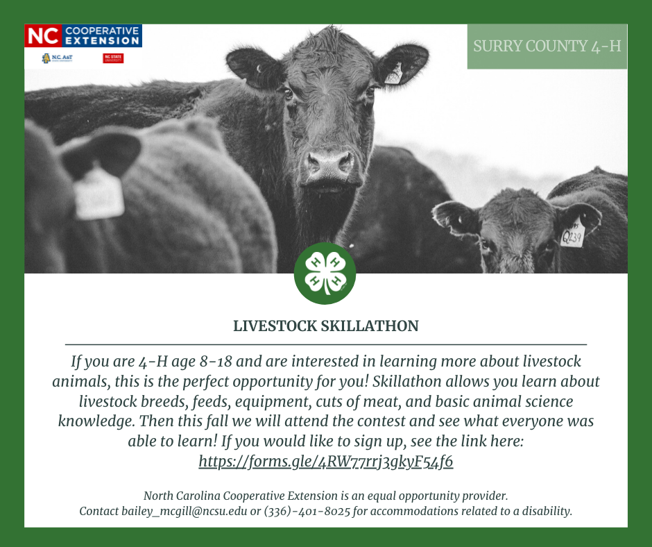 Skillathon is a contest that we will practice for and youth will get to learn all about livestock breeds, feeds, equipment, cuts of meat, and basic animal science knowledge. This fall we will attend the contest and see what everyone was able to learn! Youth must be 4-H age (age as of January 1st, 2021) 8-18 to participate. Please fill out this form by July 12th to participate!