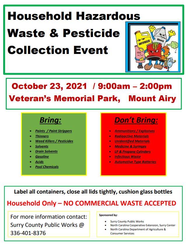 Hazardous Waste Collection Event flyer